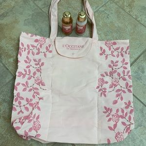 L'occitane rose shower gel & lotion with tote bag
